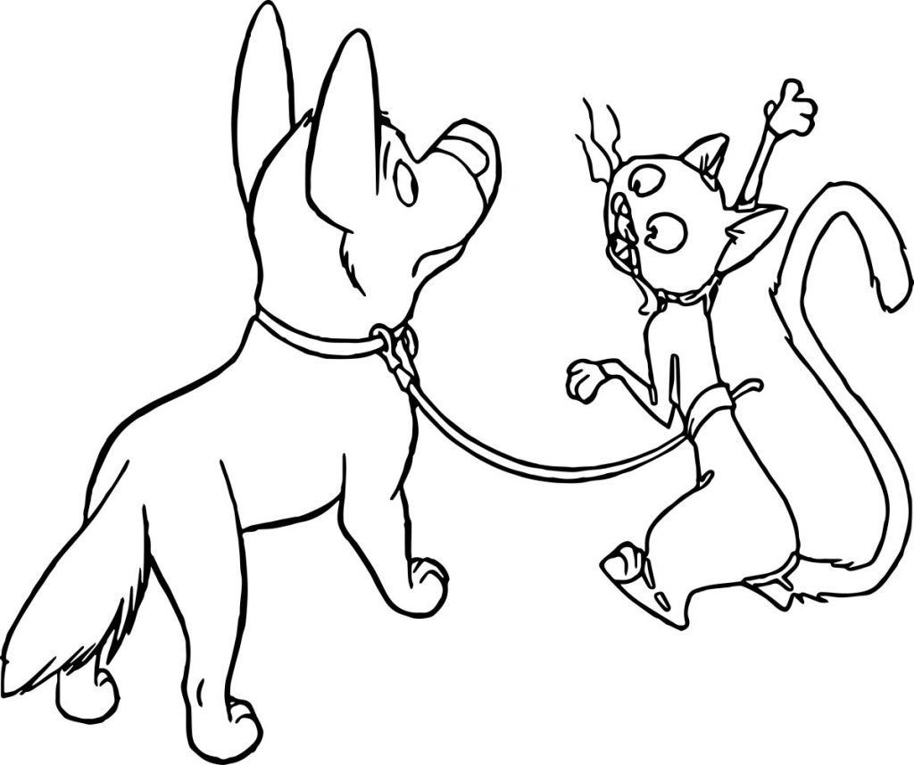 Bolt and Mittens Coloring Page