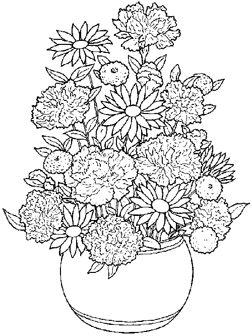 Bouquet Flower Pot Coloring Page
