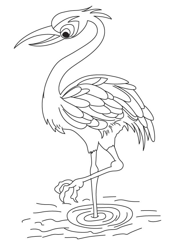 Crane Printable Coloring Pages