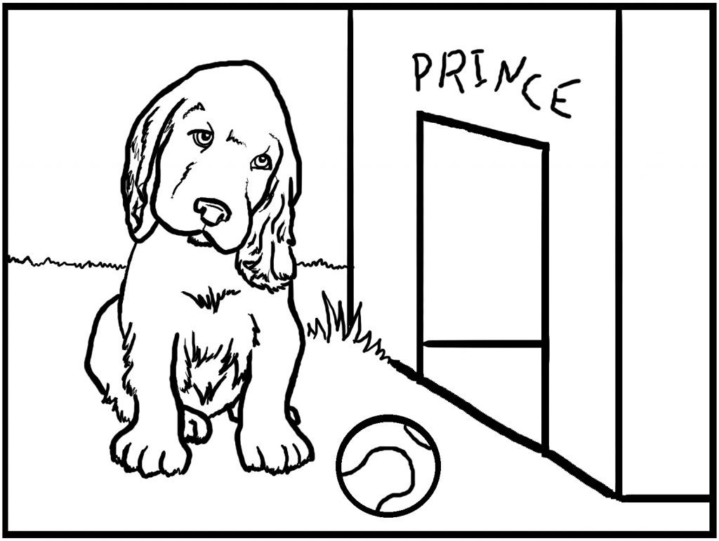 Cute Golden Retriever Coloring Page