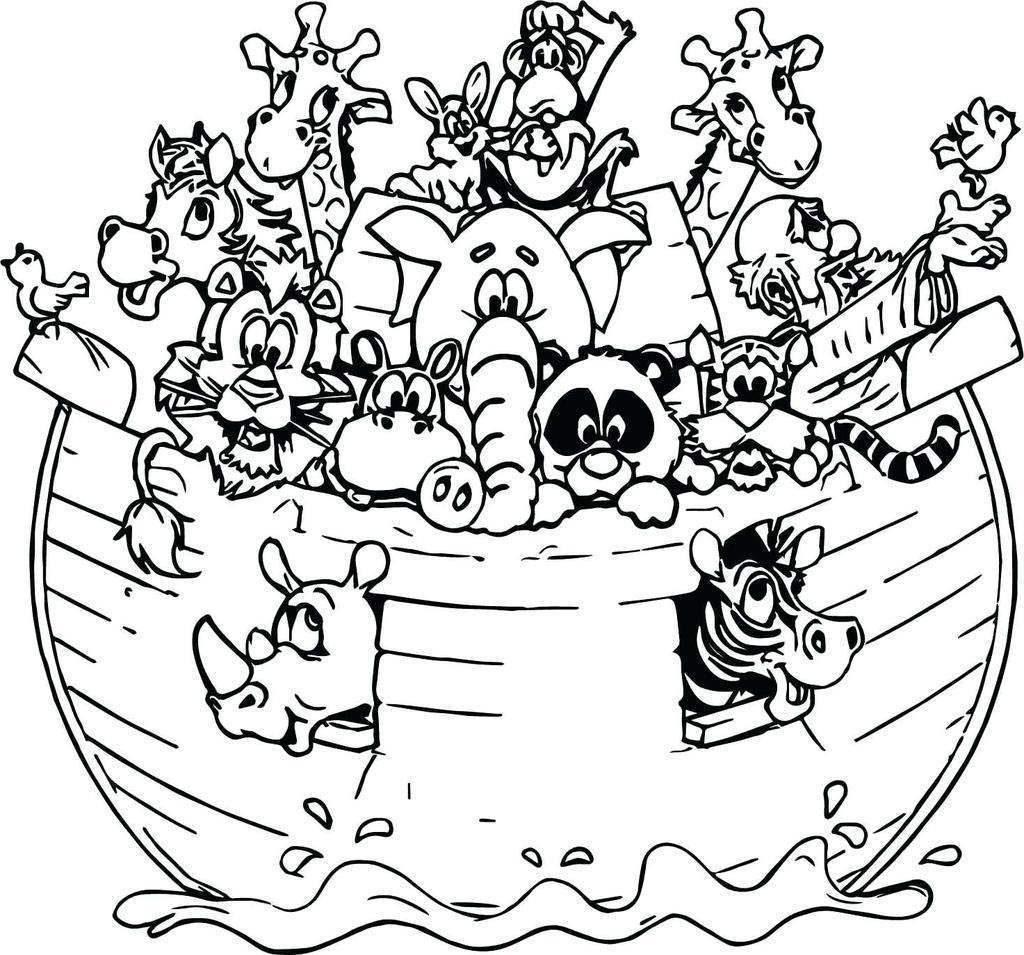 Cute Noahs Ark Coloring Page