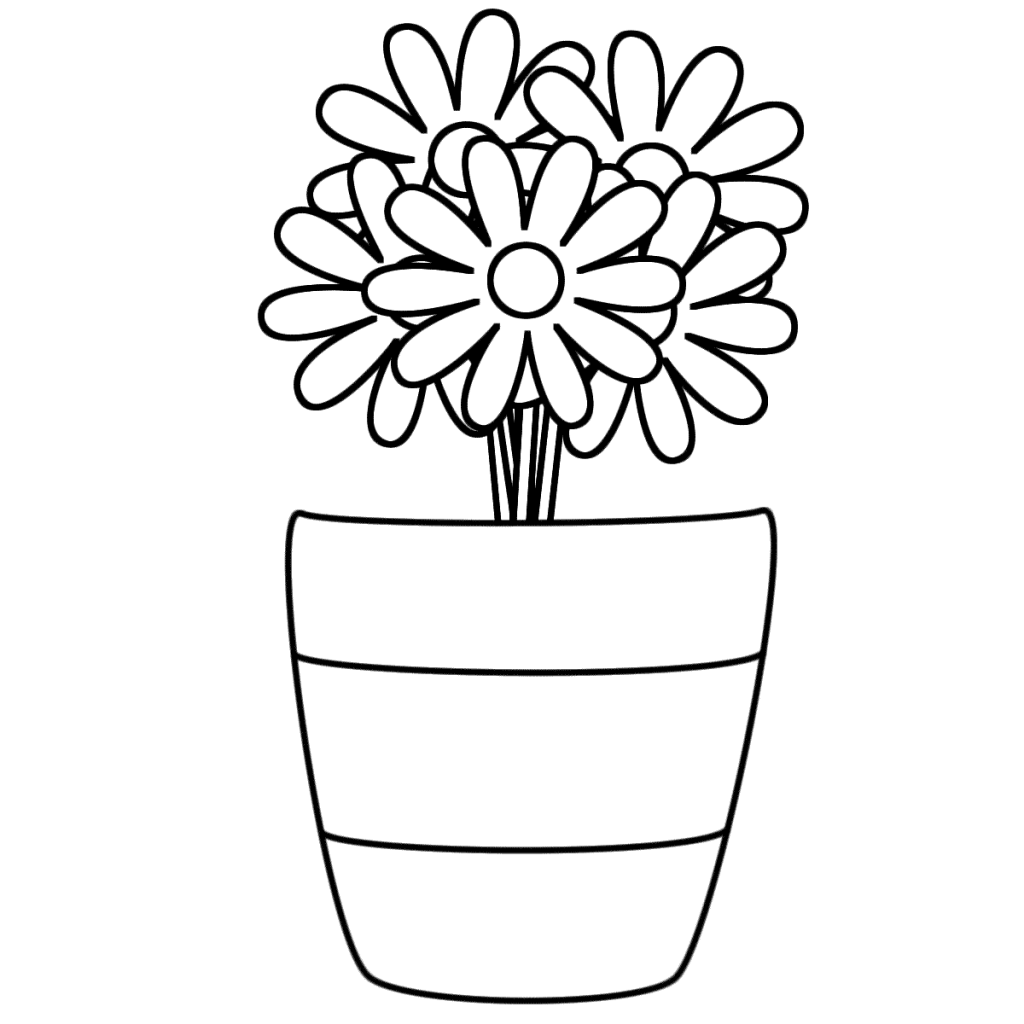 Daisy Flower Pot Coloring Pages