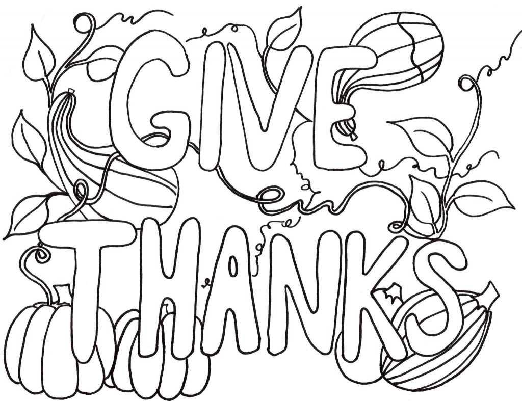 Easy Thanksgiving Coloring Page For Adults