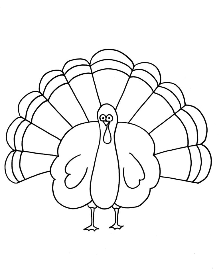 Easy Thanksgiving Turkey Coloring Page For Preschool