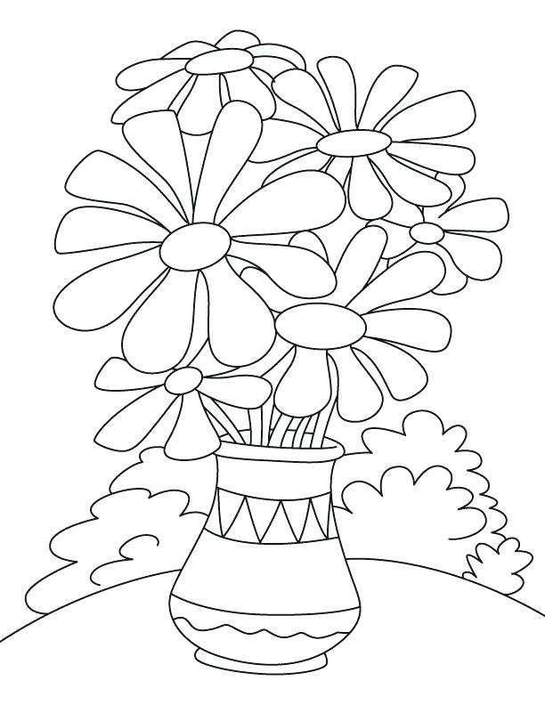 Flower Pot Printable Coloring Page