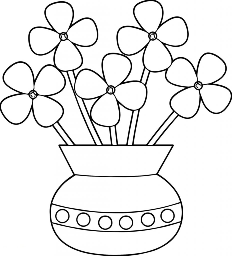 Happy Flower Pot Coloring Pages