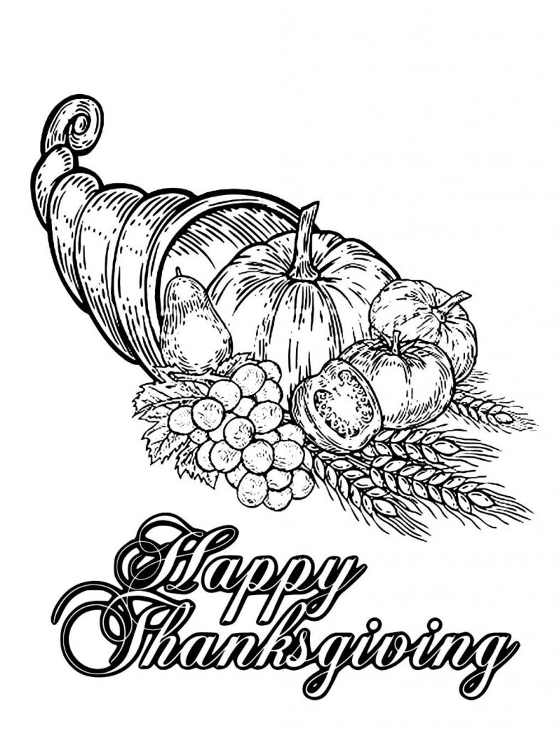 Happy Thankgiving Harvest Coloring Page For Adults