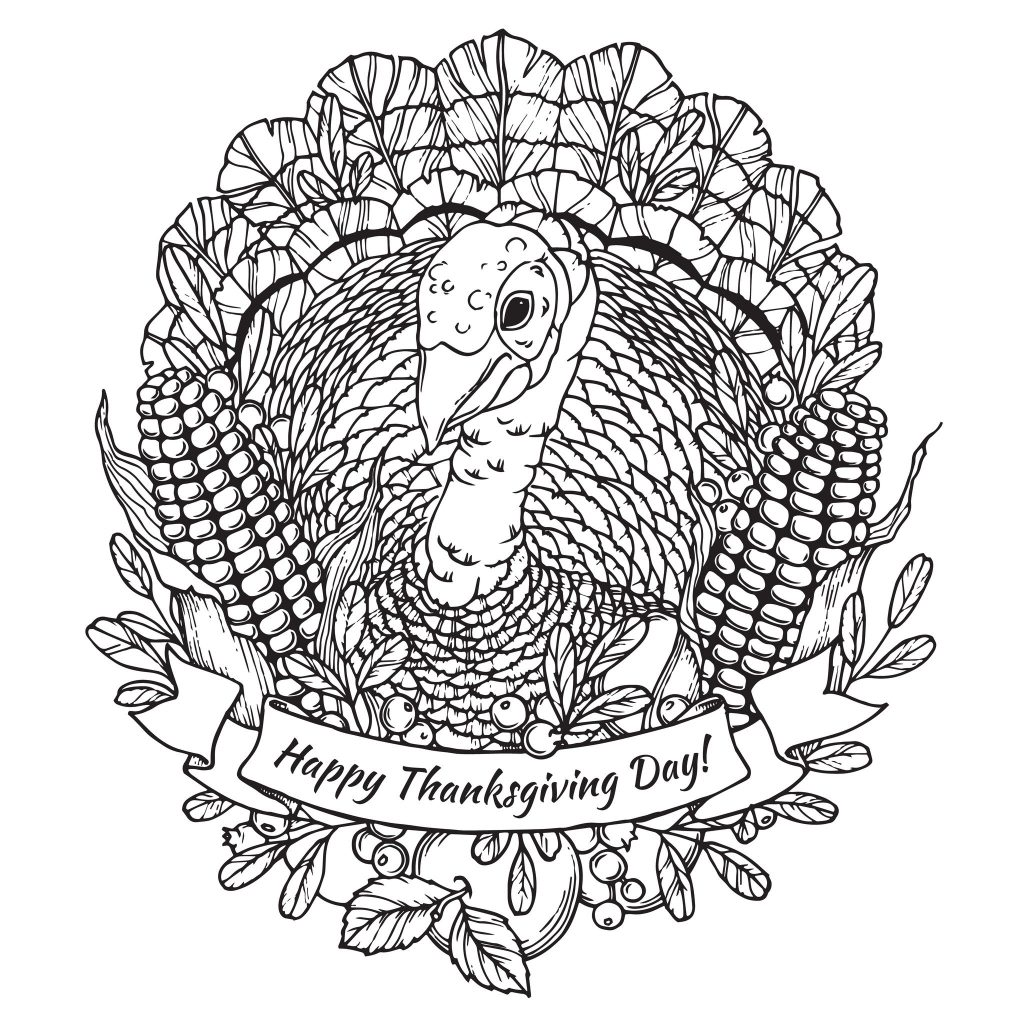 Happy Thanksgiving Coloring Page For Adults