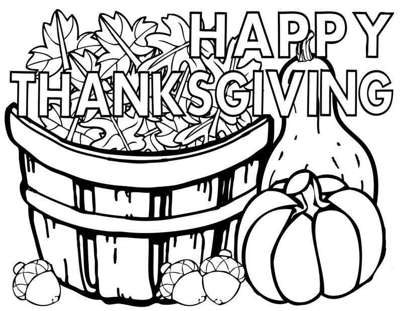 Happy Thanksgiving Fall Coloring Page For Adults