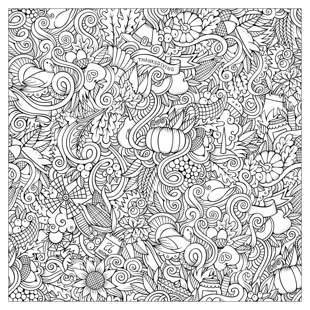 Hard Thanksgiving Coloring Page For Adults