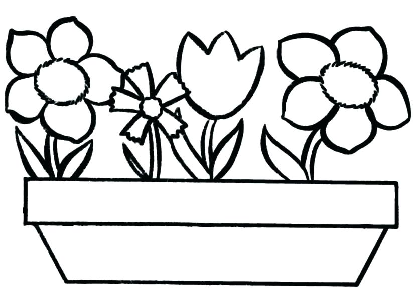 Long Flower Pot Coloring Pages