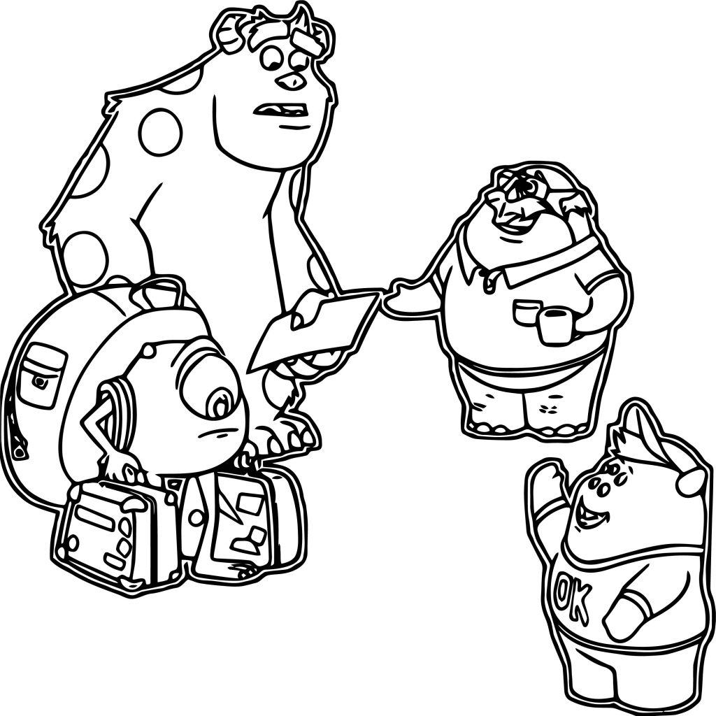 Monsters U Characters Coloring Page