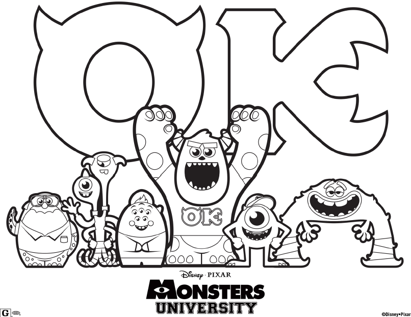 Monsters University Movie Coloring Page