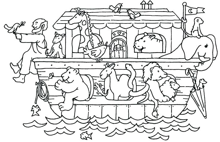 Noah And Animals On The Ark Coloring Page