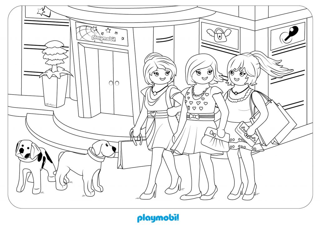 Playmobil Shopping Coloring Pages