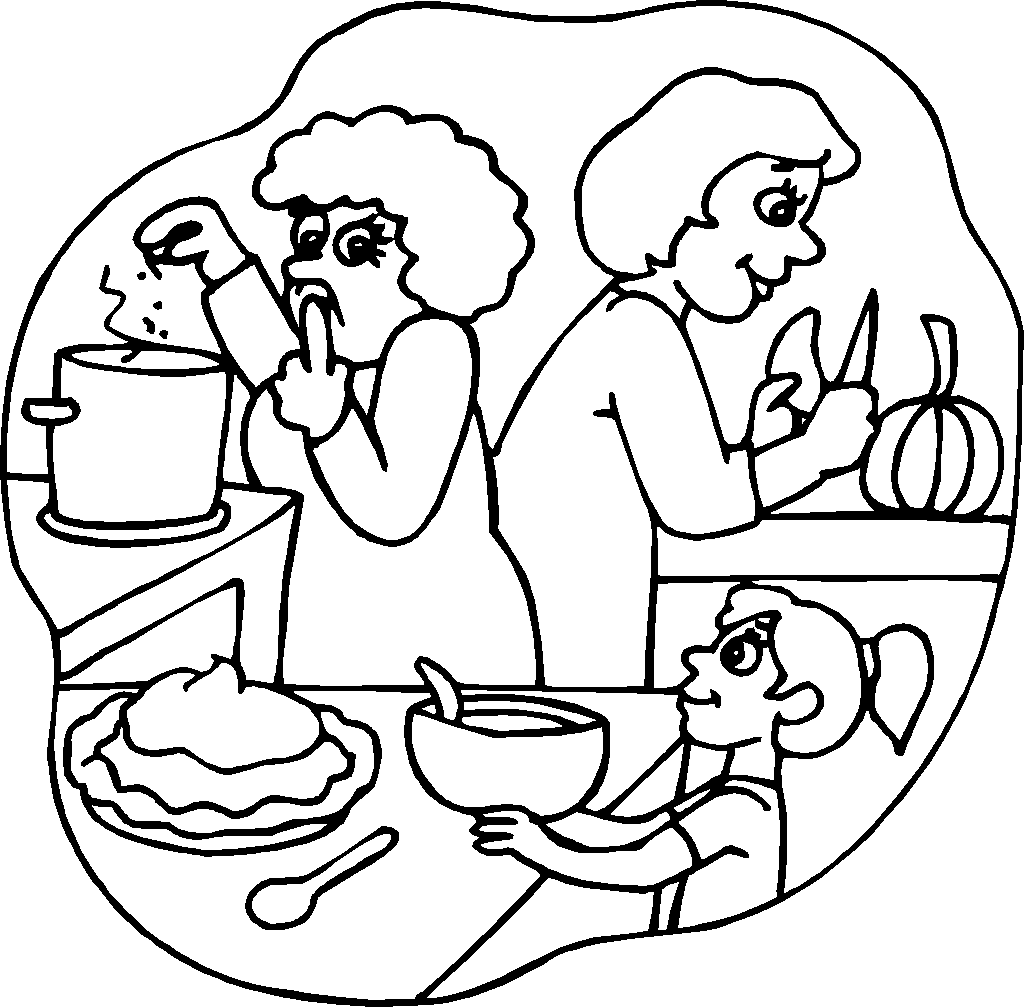 Thanksgiving Cooking Coloring Pages For Preschool