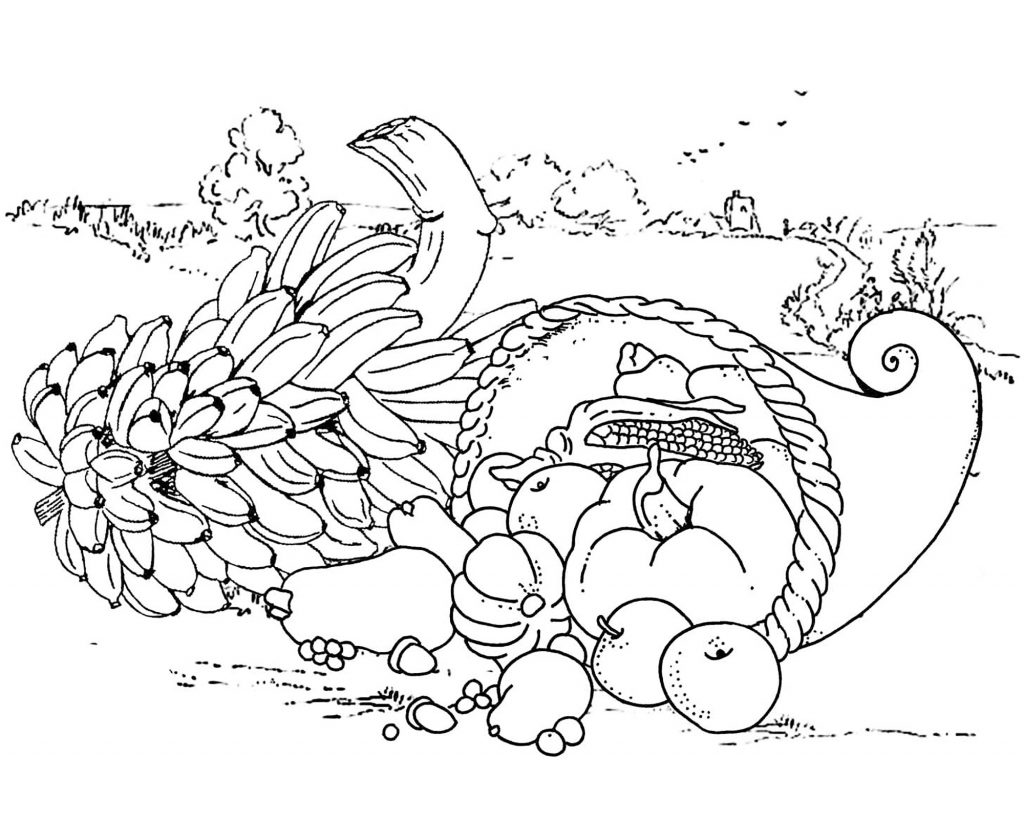 Thanksgiving Cornucopia Adult Coloring Page