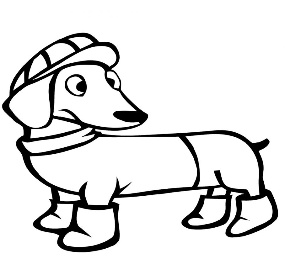 Winter Dachshund Coloring Pages