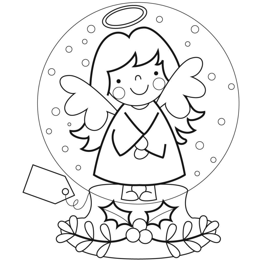 Angel Snowglobe Coloring Page