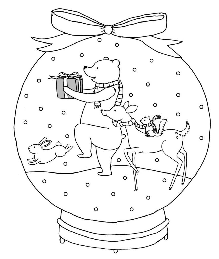 Animals Snowglobe Coloring Page