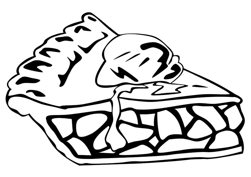 Apple Pie With Ice Cream Coloring Page