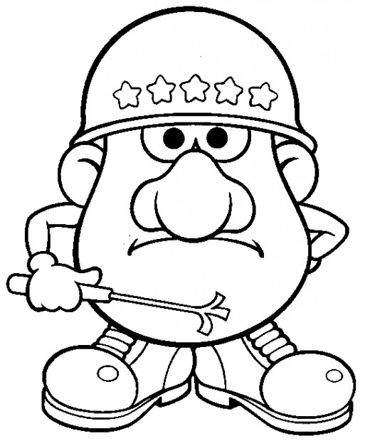 Army Mr Potato Head Coloring Pages