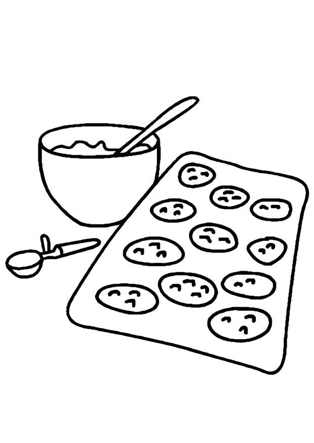Baking Cookies Dessert Coloring Page
