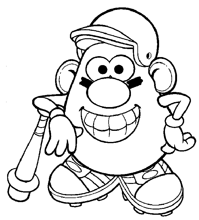 Baseball Mr Potato Head Coloring Pages
