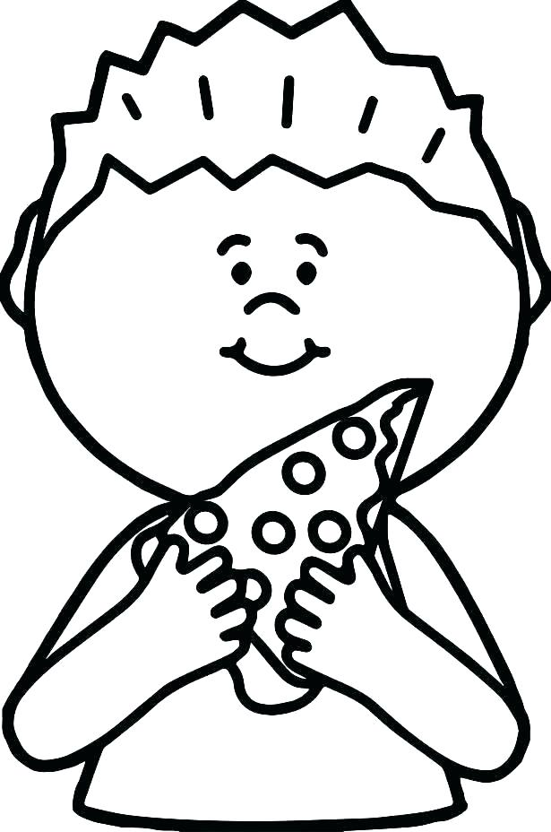 Boy Eating Pizza Coloring Page
