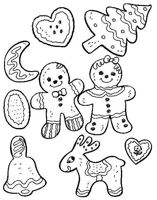 Christmas Cookies Coloring Page