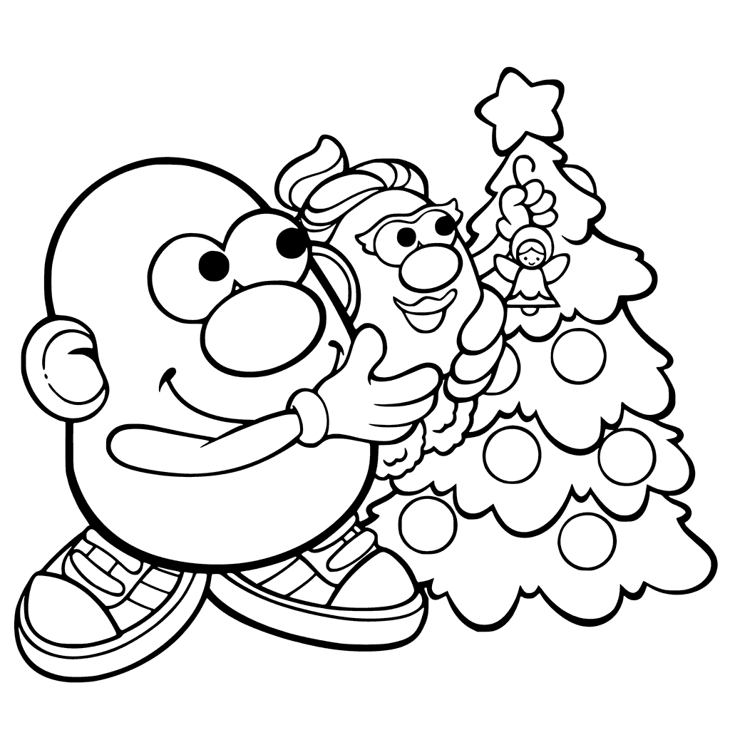 Christmas Mr Potato Head Coloring Pages