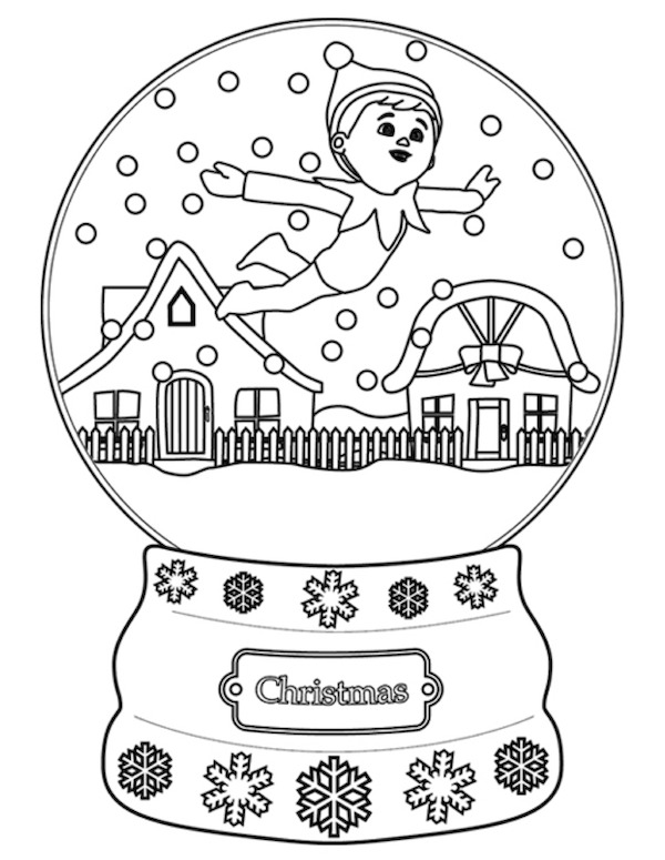 Christmas Snowglobe Printable Coloring Page