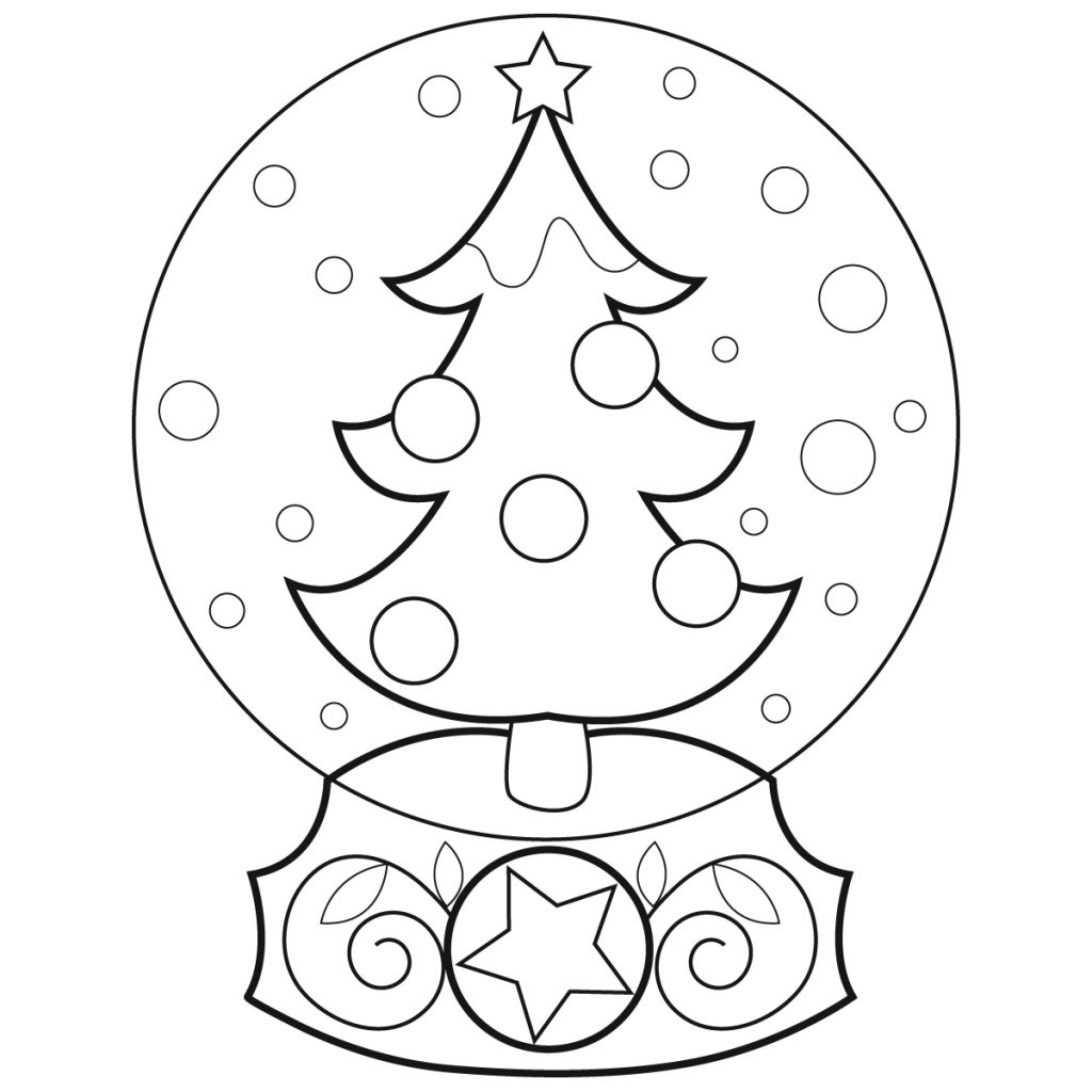 Christmas Snowglobe Printable Coloring Pages