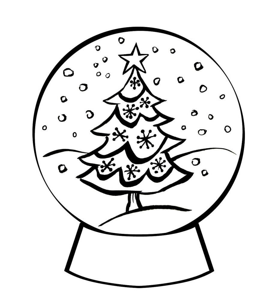 Christmas Tree Snowglobe Coloring Page