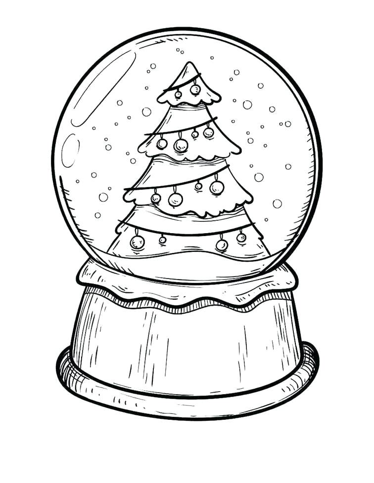 Christmas Tree Snowglobe Coloring Pages