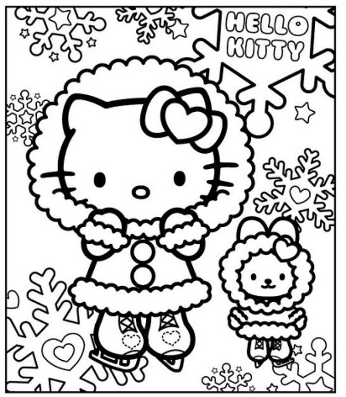 Cute Hello Kitty Ice Skating Coloring Page