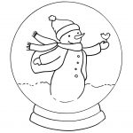Cute Snowman Snowglobe Coloring Pages