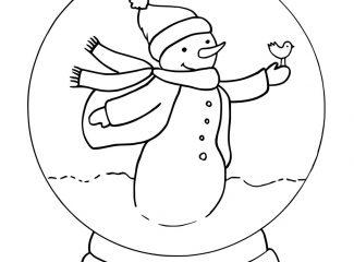Cute Snowman Snowglobe Coloring Pages