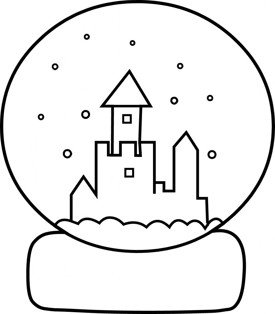 Easy Snowglobe Coloring Pages