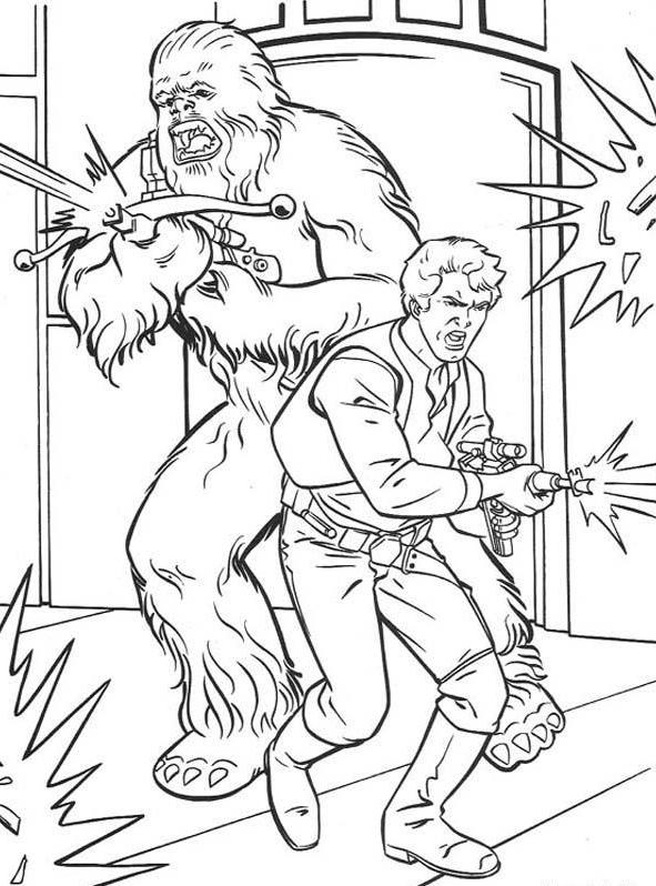Han And Chewbacca Fighting Coloring Page