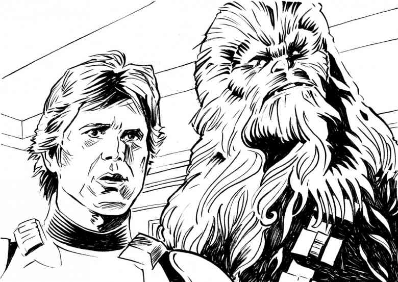 Han And Chewbacca Realistic Coloring Page