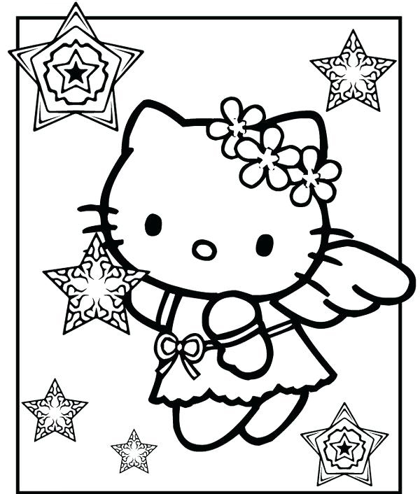 Hello Kitty Christmas Angel Coloring Pages