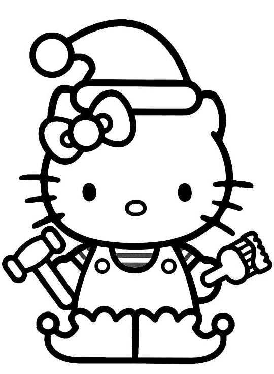 Hello Kitty Christmas Elf Coloring Pages