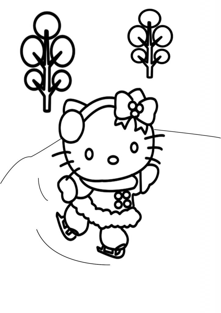 Hello Kitty Christmas Skating Coloring Pages