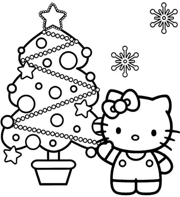 Hello Kitty Decorating Christmas Tree Coloring Pages