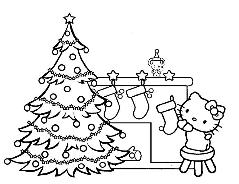 Hello Kitty Decorating For Christmas Coloring Pages
