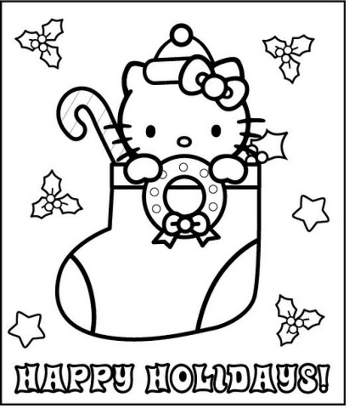 Hello Kitty Happy Holidays Coloring Page