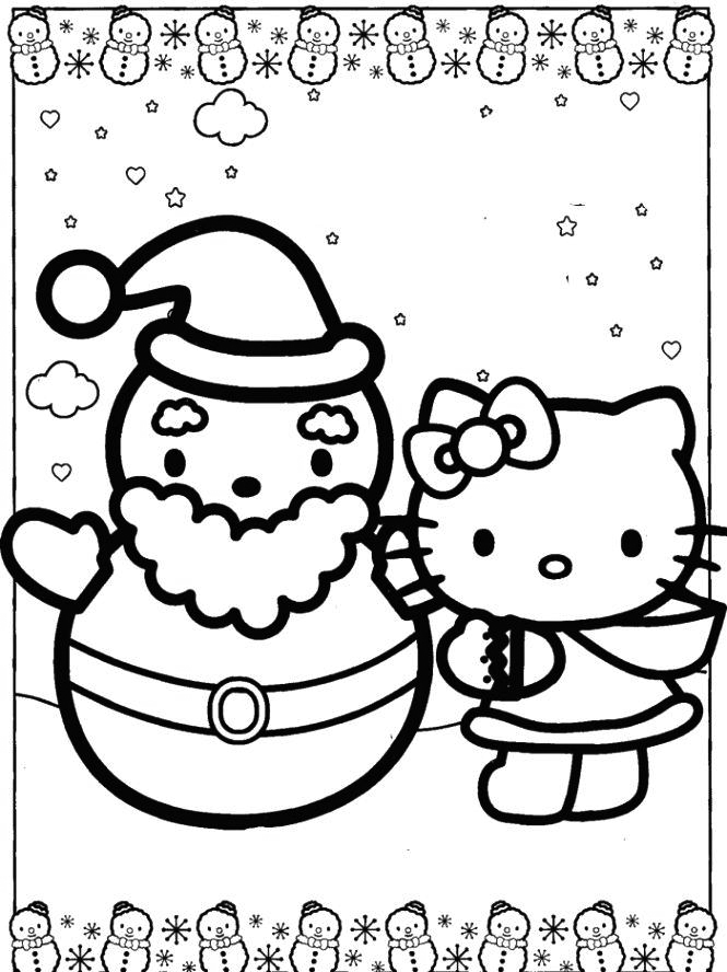 Hello Kitty And Santa Coloring Page