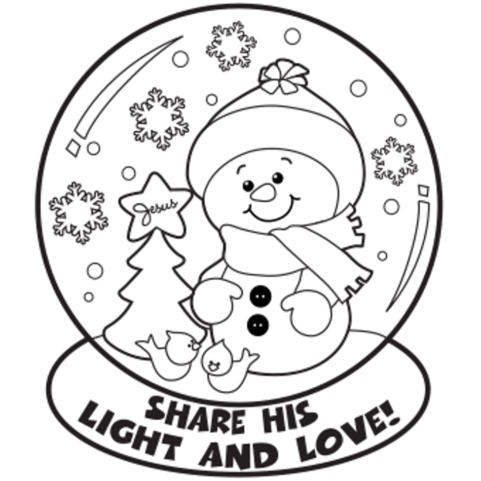 Holy Snowglobe Coloring Page