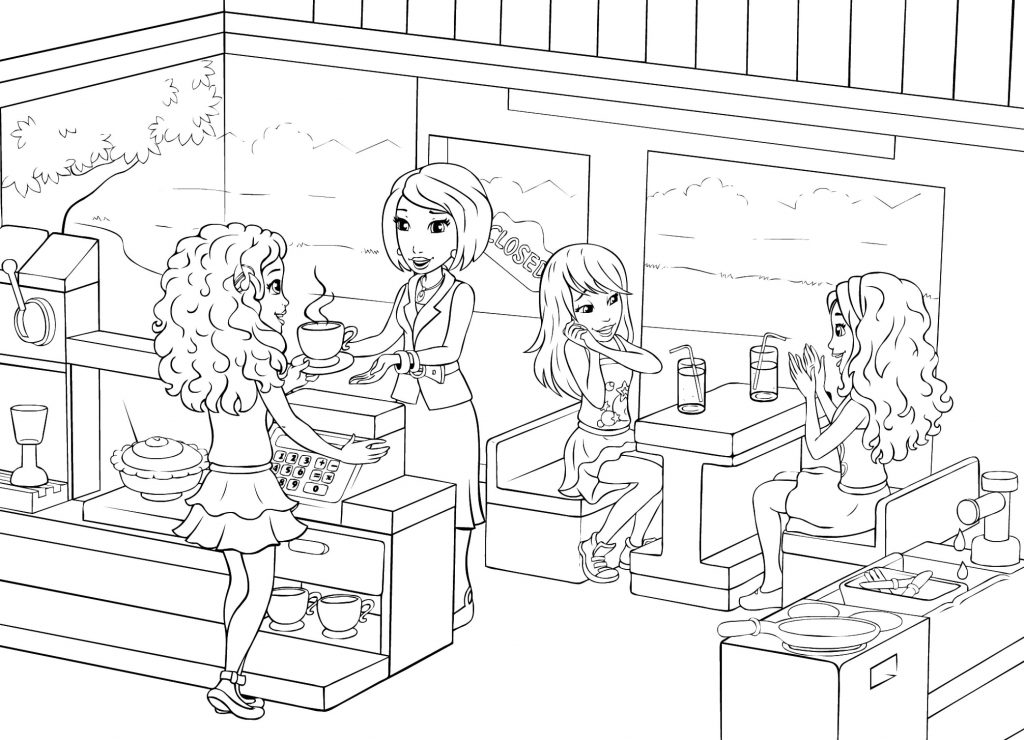 Lego Friends Restaurant Coloring Page